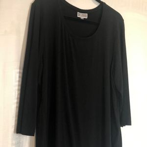 JM Collection Black Tunic Top Stretchy Rayon Comfy